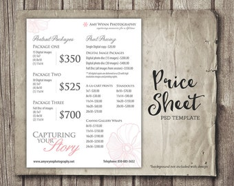 Photography Price Sheet Package Pricing - Photographer Price List - Marketing - Photography Template Photography Packages - INSTANT DOWNLOAD
