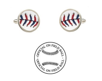 Authentic Leather Baseball Cufflinks - Minnesota Twins - Made with an Official On Field Game Baseball