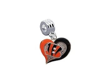 "Cincinnati Bengals ""Swirl Heart"" Football European Charm for Bracelet, Necklace & DIY Jewelry"