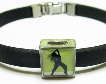 Female Dancer Green Link With Choice Of Colored Band Charm Bracelet