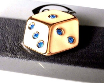 Gontie Paris Signed Die Pin Brooch 6807 Gold Plated With Blue Crystals (D)
