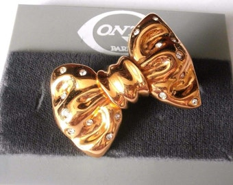 Signed Gontie Paris Signature Bow Pin Brooch 1384 Gold Plated With Crystals New (D)