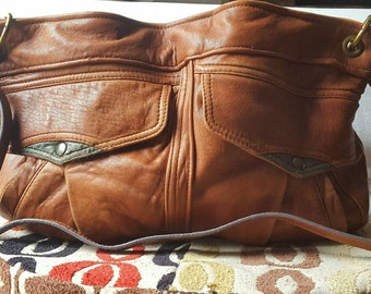 Upcycled and OOAK Leather Tote Bag, Perfect Slouchiness!