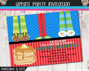 Pancake and Pajama Christmas Party Invitation - Pancake & PJ's Party - Holiday Party Invitation