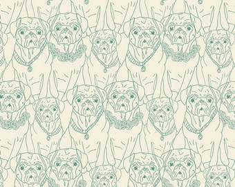 Pug Ville Vert- Knit- Joie de Vivre by Bari J. for Art Gallery Fabrics