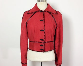 Vintage Suede Jacket / Red Suede Jacket / 70s Hippie Jacket / Handmade 1970s Vintage / 70s Wearable Art / Red Leather Jacket / Jacket Small