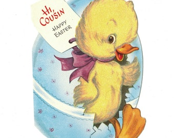 Vintage Easter Greeting Card Flocked Duckling Emerges From Egg Gibson Die Cut 1950s