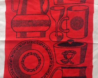 Vintage Mid Century 1960s Unused Irish Linen Illustrated Kitchen Tea Towel Cloth in Red
