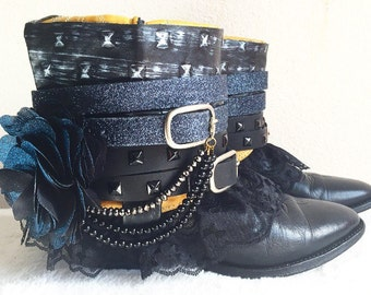 Black Boho Boots, Bohemian Boots, Upcycled Boots, Re Worked Custom Boots, Recycled Cowboy Boots