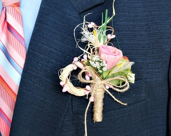 Dried Rose Lapel Pin, Rustic Boutonniere, Pink Natural Buttonhole, Groom Boutonniere, Best Men, Woodland Boutonniere, Groomsmen Buttonhole