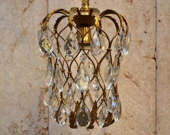 Lampadario Liberty '900 ottone e cristallo