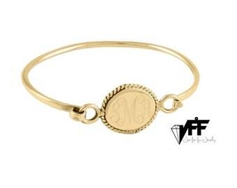 Gold Monogram bangle bracelt any Initial, Personalized bracelet - Bridesmaids gift Engraved jewelry