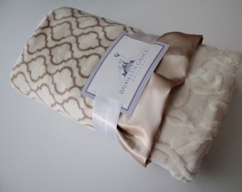 Embossed Vine Baby Blanket in Biscuite and Ivory Trellis with Ivory Embossed Vine and Champagne Satin Trim - Baby Girl, Crib Bedding