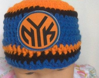 New York Knicks inspired   baby hat, toddler hat, winter hat, photo prop, basketball beanie