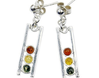 Natural Green and Honey Baltic Amber & Sterling Silver Dangle Earrings , AD597