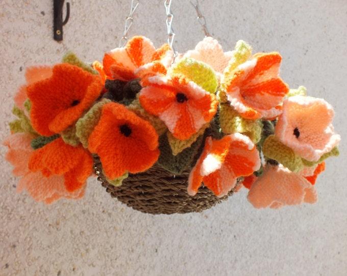 Knitting Pattern for flower hanging basket, Flowers and leaves knitting pattern, Surfinias knitted flowers, Digital download pdf