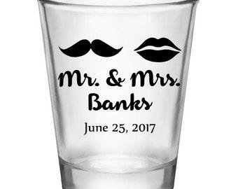 """100x """"Mr Mrs Mustache"""" Custom Shot Glasses"""