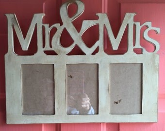 Mr. and Mrs. frame  distressed cream chalk paint