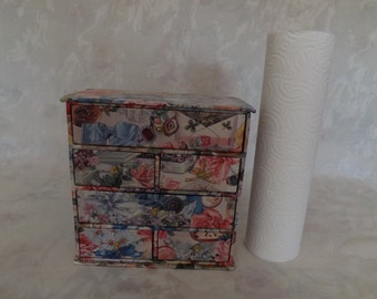 Vintage/Estate, Small, 8 x 8 x 4, Cardboard, Flowered, Chest of Drawers with Drawer knobs