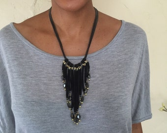 Leather fringe necklace- Statement necklace- Boho-chic