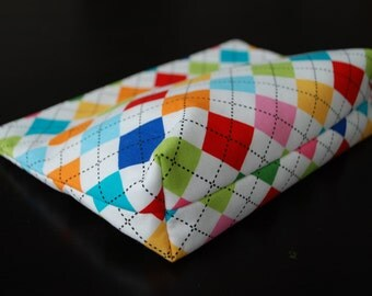 Multi-Colored Argyle Zipper Bag with Flat Bottom