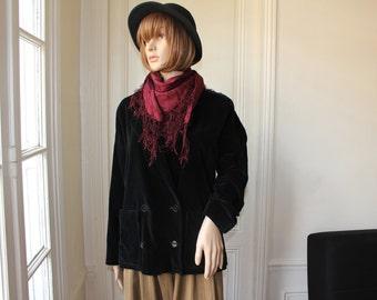 UNGARO black velvet jacket double breasted 70s vintage jacket notched lapel collar velvet blazer boho chic boheme Emmanuel Ungaro - Size S