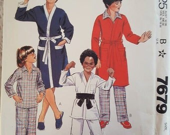 Boys Robe or Jacket and Pajamas or Karate Uniform Sewing Pattern McCalls 7679 Size Medium 8-10 NEW UNCUT