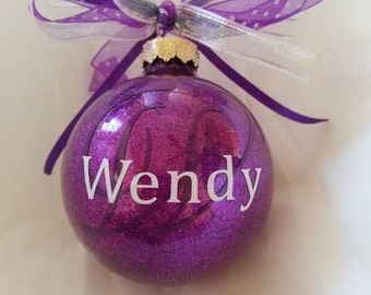 Monogrammed Ornament, Christmas Ball, Custom Ornament, Christmas Ornament, Purple Ornament, Vinyl Ornament, Tree Ornament, Handmade Ornament