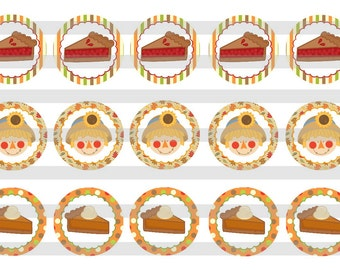 """Thanksgiving Day Pies INSTANT DOWNLOAD Bottle Cap Images 4x6 sheet 1"""" circles"""