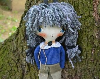 Art rabbit doll - Textile bunny - Fabric cloth doll - Soft stuffed toy -  Rag doll with black gray dreadlocks hair.