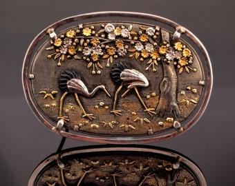 Japanese Shakudo Pin Brooch, Shibuichi Mixed Metal, Meiji Period
