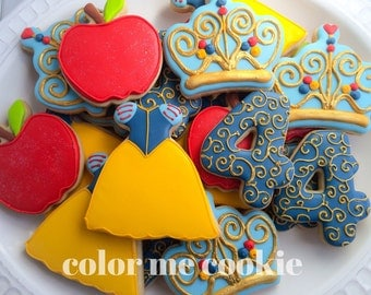 One dozen (12) SNOW WHITE THEME Decorated Sugar Cookies