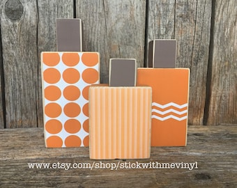 WOOD fall pumpkins, primitive chevron polka dots wood blocks Halloween blocks! Thanksgiving decor, CAnDy CoRN mini stacker wood block set