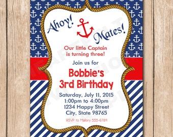 Nautical Birthday Invitation   Sailboat, Sailor, Anchor, Boy or Girl, Neutral, Little Captain - 1.00 each printed or 10.00 DIY file
