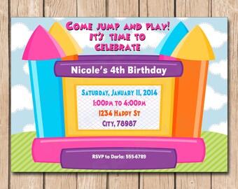 Girl Jump House Birthday Invitation - 1.00 each printed or 10.00 DIY file