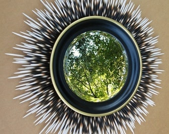 """24 inch """"Porcupine Quill"""" Mirror: Ivory Tip with Black Frame and Gold Accent Border"""