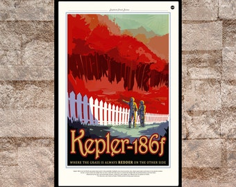 Reprint of a NASA/JPL SpaceX Planet Kepler-186f Poster