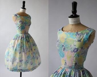 Vintage original 1950s 50s Jonathan Logan pastel floral print cotton dress UK 8 10 US 4 6 S