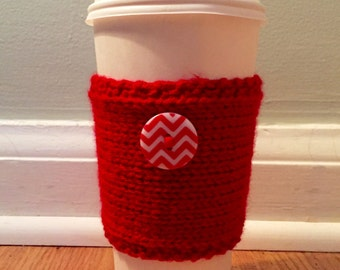 handmade knitted coffee cozy with chevron button (in red)