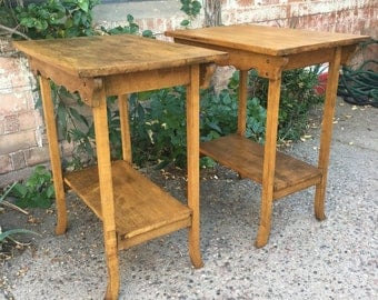Pair of antique 19th Century / Early 20th Century Rustic Primitive French Country Oak Two Tier Accent End Tables