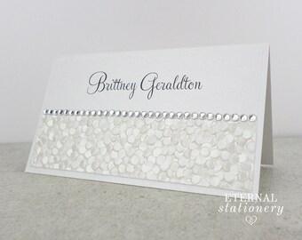 "Modern Place Card - ""Brittney"", elegant, embossed pebble, white, diamante"