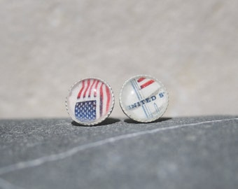 Postage Stamp Sterling Silver Studs USA