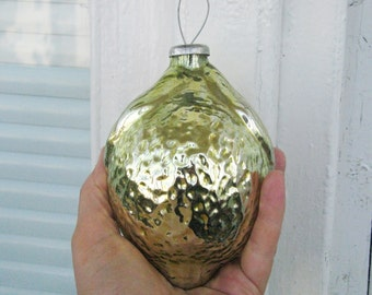 Large Vintage Soviet Lemon Christmas tree decoration, Rare Big Yellow Gold Glass Ornament,  Retro Tree decoration, Made in USSR
