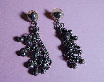 "2 1/2"" Pierced Metal Belly Dancer's Dangle Earrings with Heart Post"