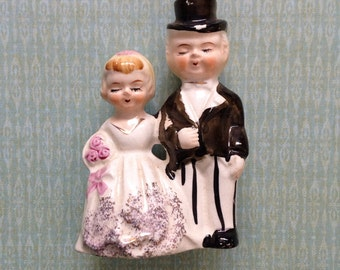 Vintage Wedding Cake Topper Bride and Groom