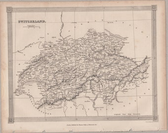 1843 Vintage Map of Switzerland #00162