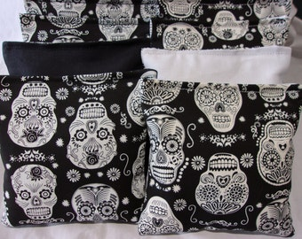8 ACA Regulation Cornhole Bags -  Candy Skulls in Black and White Glow in the Dark
