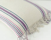 "RARE VINTAGE Handmade Weave Boho Bohemian Textile Embroidered Ethnic Made Tradition Costume White Blue Pink pastel Pillow Case 15"" x 20"""