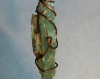 Wire Wrapped Green Kyanite Pendant B