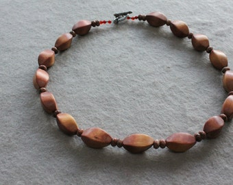 Free Shipping Reddish brown Wood  beaded necklace.
